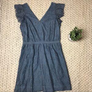 EUC Madewell Blue Lace Flutter Sleeve Dress
